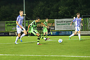 Forest Green Rovers Fabien Robert (26) shoots at goal scores a goal 3-1 during the Gloucestershire Senior Cup match between Forest Green Rovers and Cheltenham Town at the New Lawn, Forest Green, United Kingdom on 20 September 2016. Photo by Shane Healey.