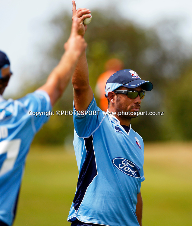 Auckland fielder Andre Adams celebrates after taking a great catch to dismiss Reece Young. Canterbury Wizards v Auckland Aces in the One Day Competition, Preliminary Semi Final. QEII Park, Christchurch, New Zealand. Sunday, 06 February 2011. Joseph Johnson / PHOTOSPORT.