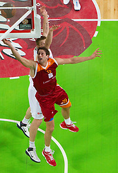 Vladimir Dasic of Lottomatica vs Vladimer Boisa of Olimpija during basketball match between KK Union Olimpija (SLO) and Lottomatica Roma (ITA) in Group F of Top 16 Turkish Airlines Euroleague, on February 23, 2011 in Arena Stozice, Ljubljana, Slovenia. Lottomatica defeated 87-76. (Photo By Vid Ponikvar / Sportida.com)