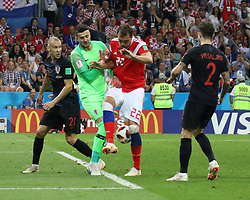 July 7, 2018 - Sochi, Russia - July 07, 2018, Sochi, FIFA World Cup 2018, the playoff round. 1/4 finals of the World Cup. Football match Russia - Croatia at the stadium Fisht. Player of the national team Artiom Dzyuba  (Credit Image: © Russian Look via ZUMA Wire)