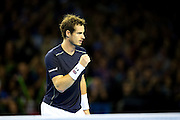 Andy Murray of Great Britain celebrates winning a point  during the 2016 Davis Cup Semi Final between Great Britain and Argentina at the Emirates Arena, Glasgow, United Kingdom on 17 September 2016. Photo by Craig Doyle.