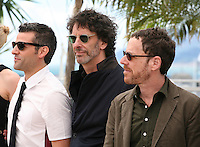 Oscar Isaac, Joel Coen, Ethan Coen, at the Coen brother's new film 'Inside Llewyn Davis' photocall at the Cannes Film Festival Sunday 19th May 2013