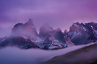 Los Cuernos emerge from a clearing storm at sunrise, Torres del Paine National Park, Chile