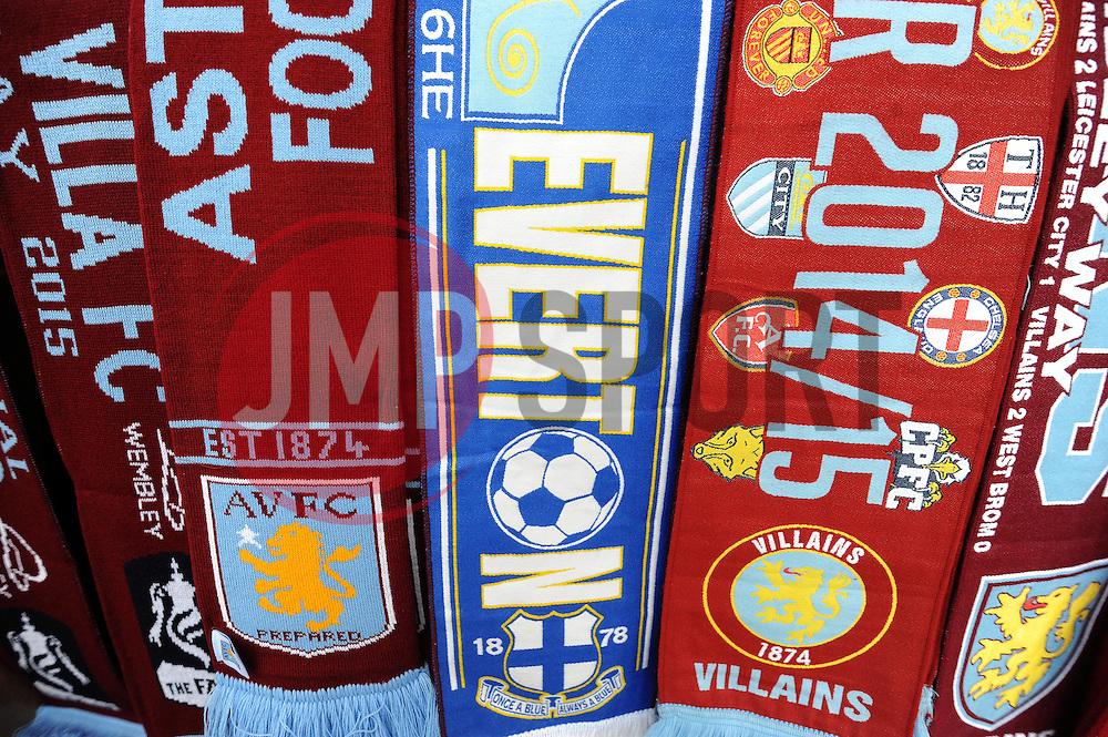 Match Day Scarfs are displayed prior to kick off. - Photo mandatory by-line: Harry Trump/JMP - Mobile: 07966 386802 - 29/04/15 - SPORT - FOOTBALL - Birmingham - Villa Park - Aston Villa v Everton - Barclays Premier League