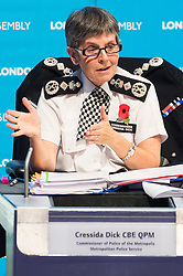 © Licensed to London News Pictures. 01/11/2018. London, UK. Cressida Dick CBE QPM, Commissioner of the Metropolis attends a London Assembly meeting on crime in the capital covering topics including tackling crime, future challenges for policing, tackling violence against women and girls and reducing road crime. Photo credit: Ray Tang/LNP