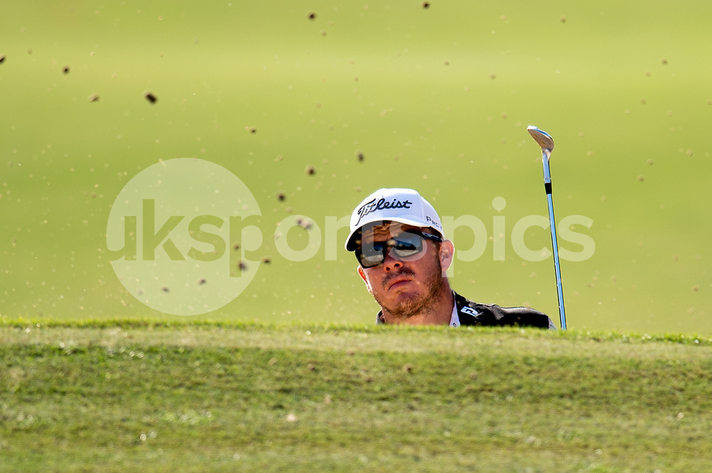 George Coetzee of South Africa plays from the bunker during the European Tour DP World Championship at Jumeirah Golf Estates, Dubai, UAE on 16 November 2017. Photo by Grant Winter.