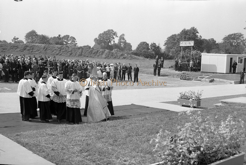 President de Valera cuts the first sod for the Faculty of Science building of University College Dublin, at Belfield. This was the first building of the new university campus. .Most Reverend Dr. McQuaid, Archbishop of Dublin, blessing the site of the new science building for University College, Dublin at Belfield..07.06.1962