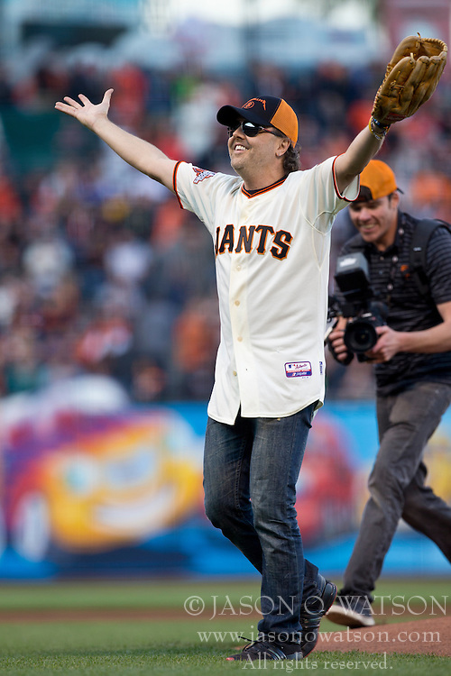 SAN FRANCISCO, CA - MAY 03: Recording artist Lars Ulrich of Metallica after throwing out the ceremonial first pitch before the game between the San Francisco Giants and the Los Angeles Dodgers at AT&T Park on May 3, 2013 in San Francisco, California. The San Francisco Giants defeated the Los Angeles Dodgers 2-1. (Photo by Jason O. Watson/Getty Images) *** Local Caption *** Lars Ulrich