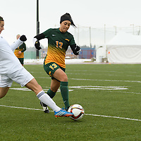 4th year midfielder Shayla Kapila (13) of the Regina Cougars in action during the Women's Soccer  road trip to Saskatoon on October 9 at Griffiths Stadium. Credit: Arthur Ward/Arthur Images