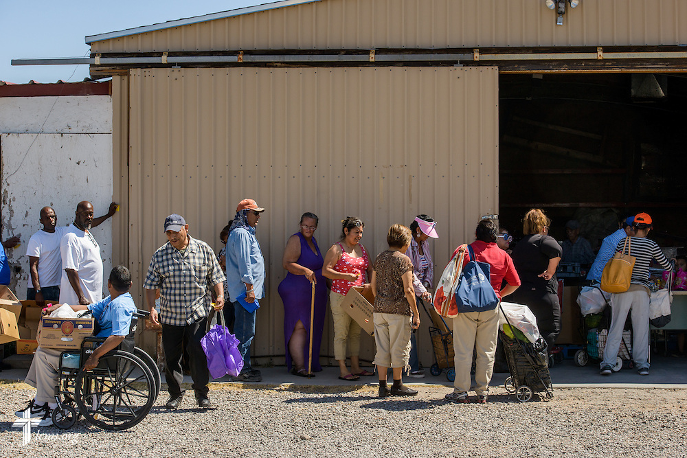 Food distribution recipients queue Saturday, May 21, 2016, at Ysleta Lutheran Mission Human Care in El Paso, Texas. LCMS Communications/Erik M. Lunsford