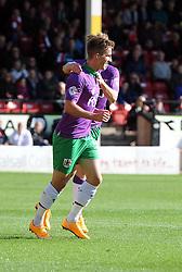Bristol City's Joe Bryan celebrates with Bristol City's Luke Freeman  - Photo mandatory by-line: Joe Meredith/JMP - Mobile: 07966 386802 - 04/10/2014 - SPORT - Football - Walsall - Bescot Stadium - Walsall v Bristol City - Sky Bet League One