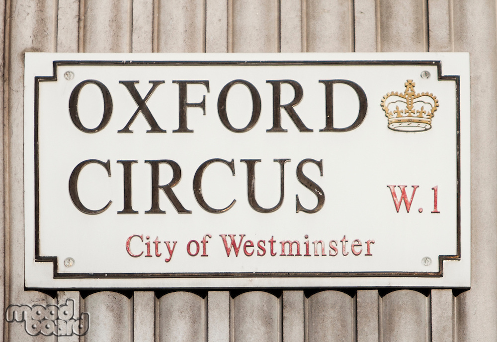 Close-up of Oxford Circus sign