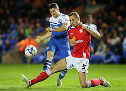 Peterborough United's Connor Washington in action with Crewe Alexandra's George Ray - Photo mandatory by-line: Joe Dent/JMP - Mobile: 07966 386802 - 14/04/2015 - SPORT - Football - Peterborough - ABAX Stadium - Peterborough United v Crewe Alexandra - Sky Bet League One