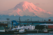 Foss Waterway with Mount Rainier at sunset - Tacoma, WA