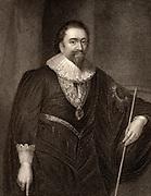 William Herbert,  3rd Earl of Pembroke (1580-1630) English poet and courtier.  Patron of Ben Jonson, Philip Massinger and Inigo Jones. Engraving.