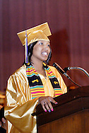 Amber Payne delivers the welcome during the Thurgood Marshall High School commencement at the Dayton Masonic Center, Tuesday, May 24, 2011.