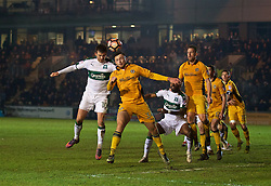 NEWPORT, WALES - Wednesday, December 21, 2016: Newport County's Josh O'Hanlon in action against Plymouth Argyle's Graham Carey during the FA Cup 2nd Round Replay match at Rodney Parade. (Pic by David Rawcliffe/Propaganda)