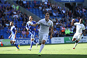 Chris Wood of Leeds United scores his teams first goal during the EFL Sky Bet Championship match between Cardiff City and Leeds United at the Cardiff City Stadium, Cardiff, Wales on 17 September 2016. Photo by Andrew Lewis.