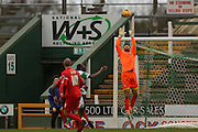 York City goalkeeper Scott Flinders  claims the ball easily during the Sky Bet League 2 match between Yeovil Town and York City at Huish Park, Yeovil, England on 2 January 2016. Photo by Simon Davies.