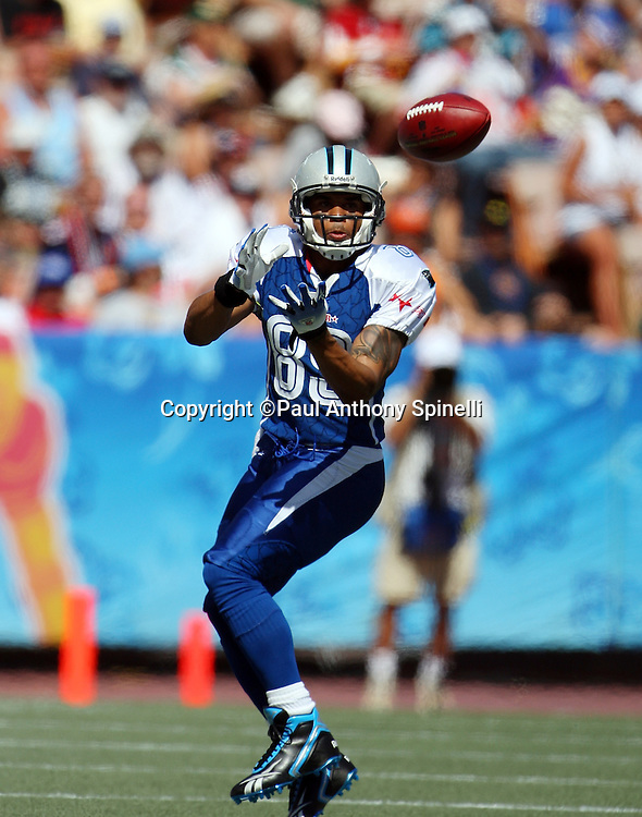 HONOLULU, HI - FEBRUARY 08: NFC All-Stars wide receiver Steve Smith #89 of the Carolina Panthers catches a pass during the game against the AFC All-Stars in the 2009 NFL Pro Bowl at Aloha Stadium on February 8, 2009 in Honolulu, Hawaii. The NFC defeated the AFC 30-21. ©Paul Anthony Spinelli *** Local Caption *** Steve Smith