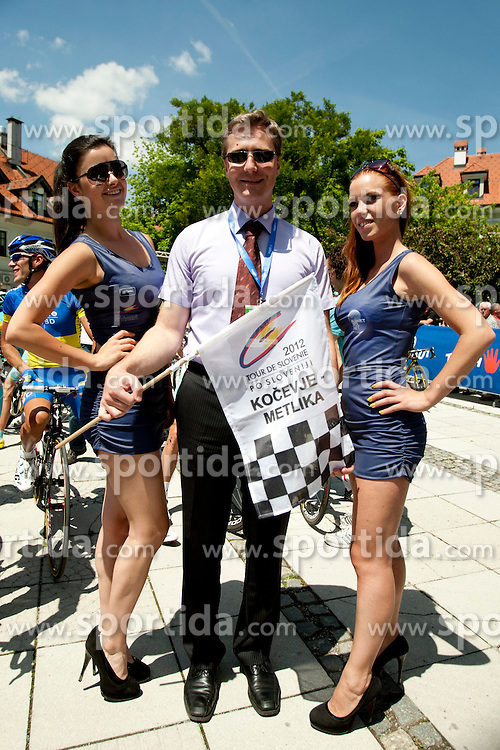 Dr. Vladimir Prebilic mayor of Kovecje with Playboy girls during 2nd Stage (177,4 km) at 19th Tour de Slovenie 2012, on June 15, 2012, in Kocevje, Slovenia. (Photo by Urban Urbanc / Sportida.com)