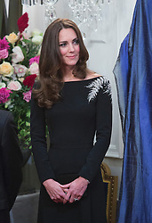 WELLINGTON- NZ- 10-APR-2014: The Duke and Duchess of Cambridge attend a redeption hosted by the New Zealand Governor General at Government House during which the unveiled a new portrait of HM The Queen.<br /> Photograph by Ian Jones