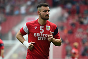 Bailey Wright (5) of Bristol City warming up before the EFL Sky Bet Championship match between Bristol City and Hull City at Ashton Gate, Bristol, England on 21 April 2018. Picture by Graham Hunt.