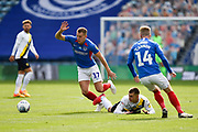 Bryn Morris (17) of Portsmouth on the attack during the EFL Sky Bet League 1 Play Off leg 1 of 2 match between Portsmouth and Oxford United at Fratton Park, Portsmouth, England on 3 July 2020.