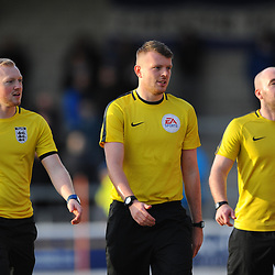 TELFORD COPYRIGHT MIKE SHERIDAN 22/12/2018 - Referee Sam Barrott with assistants Gareth Myers and Lewis Dawson during the Vanarama Conference North fixture between Chester FC and AFC Telford United at the Swansway Deva Stadium, Chester.