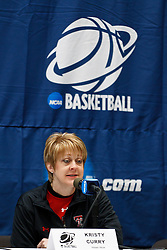March 18, 2011; Stanford, CA, USA; Texas Tech Lady Raiders head coach Kristy Curry speaks at a press conference the day before the first round of the 2011 NCAA women's basketball tournament at Maples Pavilion.