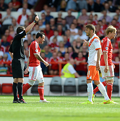 BlackPool's Andrea Orlandi gets booked. - Photo mandatory by-line: Alex James/JMP - Mobile: 07966 386802 09/08/2014 - SPORT - FOOTBALL - Nottingham - City Ground - Nottingham Forest v Blackpool - Sky Bet Championship - First game of the season
