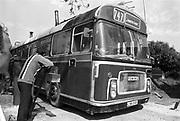 747 bus to Hampton Court, Glastonbury, Somerset, 1989
