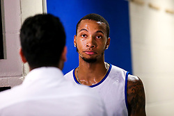 Gentrey Thomas of Bristol Flyers is interviewed by local TV  - Mandatory by-line: Robbie Stephenson/JMP - 17/09/2019 - BASKETBALL - SGS Arena - Bristol, England - Bristol Flyers Open Training Session