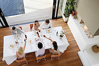 Friends toasting across table at a formal dinner party high angle view