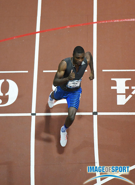 Mar 4, 2017; Albuquerque, NM, USA: Noah Lyles wins the 300m in a world record 31.87 during the USA Indoor Championships at Albuquerque Convention Center.