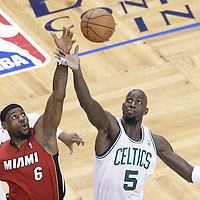 07 June 2012: Boston Celtics power forward Kevin Garnett (5) vies for the jump ball with Miami Heat small forward LeBron James (6) during the Miami Heat 98-79 victory over the Boston Celtics, in Game 6 of the Eastern Conference Finals playoff series, at the TD Banknorth Garden, Boston, Massachusetts, USA.