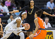 WAKE FOREST DEMON DEACONS BATTLE THE CLEMSON LADY TIGERS IN AN ACC CONTEST THURSDAY, JANUARY 29TH, 2015 AT LAWRENCE JOEL VETERANS MEMORIAL COLISEUM IN WINSTON-SALEM, NC.