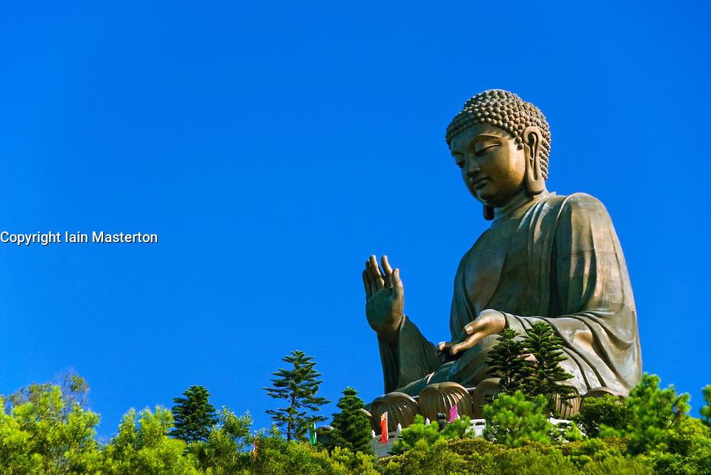Famous Big Buddha statue at Po Lin Monastery on Lantau Island in Hong Kong