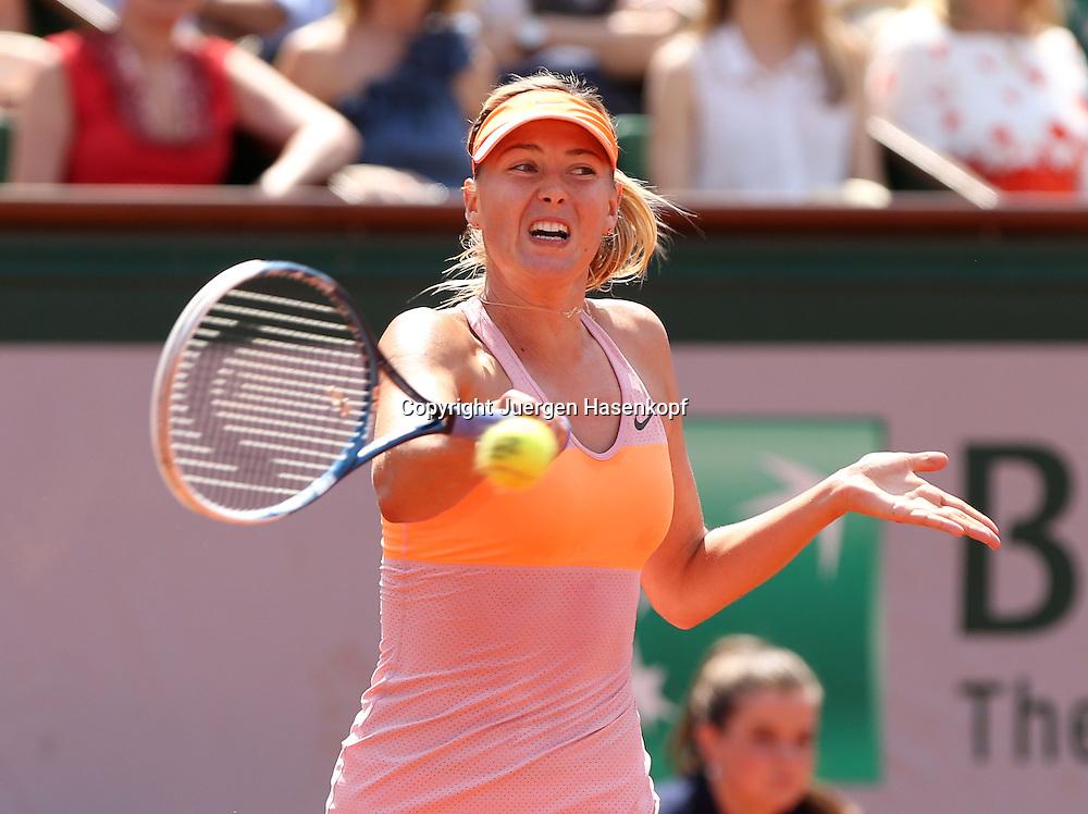 French Open 2014, Roland Garros,Paris,ITF Grand Slam Tennis Tournament,<br /> Maria Sharapova  (RUS),Aktion,Einzelbild,Halbkoerper,Querformat,