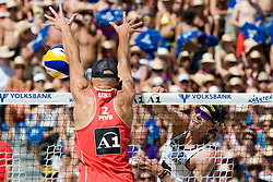 Phil Dalhausser of USA blocks shot by Matt Fuerbringer of USA at A1 Beach Volleyball Grand Slam tournament of Swatch FIVB World Tour 2010, final, on August 1, 2010 in Klagenfurt, Austria. (Photo by Matic Klansek Velej / Sportida)