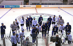 Finland hockey players listen to Head coach Doug Shedden at practice of Finland national team at Hockey IIHF WC 2008 in Halifax,  on May 04, 2008 in Forum Centre, Halifax, Nova Scotia, Canada.  (Photo by Vid Ponikvar / Sportal Images)