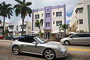 Porsche 911cabriolet convertible sports car by Hotel Shelley, Collins Avenue, at South Beach, Miami, Florida, USA