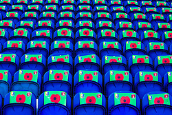 A sea of poppy banners on seats for fans to hold up during the Last Post for Armistice Day at the One Call Stadium, home to Mansfield Town - Mandatory by-line: Ryan Crockett/JMP - 11/11/2018 - FOOTBALL - One Call Stadium - Mansfield, England - Mansfield Town v Charlton Athletic - Emirates FA Cup first round proper