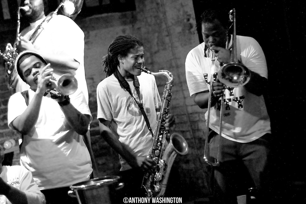 Members of the Hot 8 Brass Band perform at the Howlin Wolf on Sunday, June 5, 2011 in New Orleans, LA.