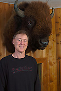 Bruce wanted to do some Shots with the Buffalo Head on one wall in his Studio. So I had him stand on an Amplifier, moved the lights and started Shooting.