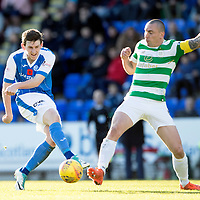 St Johnstone v Celtic…04.11.17…  McDiarmid Park…  SPFL<br />Blair Alston's shot is blocked by Scott Brown<br />Picture by Graeme Hart. <br />Copyright Perthshire Picture Agency<br />Tel: 01738 623350  Mobile: 07990 594431