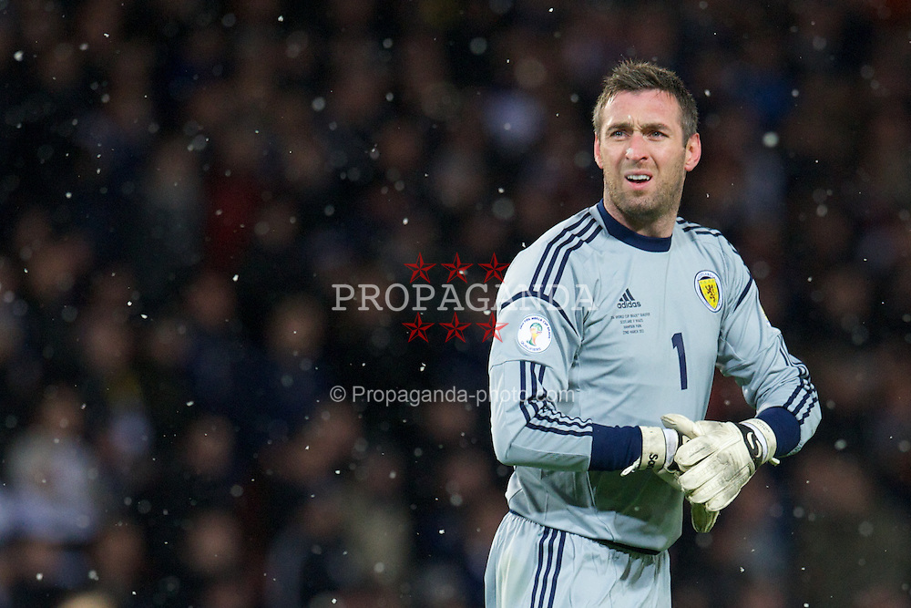 GLASGOW, SCOTLAND - Friday, March 22, 2013: Scotland's goalkeeper Allan McGregor in action against Wales during the 2014 FIFA World Cup Brazil Qualifying Group A match at Hampden Park. (Pic by David Rawcliffe/Propaganda)