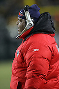 PITTSBURGH - JANUARY 23:  Defensive coordinator Romeo Crennel of the New England Patriots works the sidelines against the Pittsburgh Steelers during the AFC Championship game at Heinz Field on January 23, 2005 in Pittsburgh, Pennsylvania. The Pats defeated the Steelers 41-27. ©Paul Anthony Spinelli  *** Local Caption *** Romeo Crennel