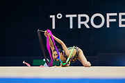 "Milena Baldassarri during the ""1st Trofeo Citta di Monza"". On this occasion we have seen the rhythmic gymnastics teams of Belarus and Italy challenge each other. The Bilateral period was only June 9, 2019 at the Candy Arena in Monza, Italy."