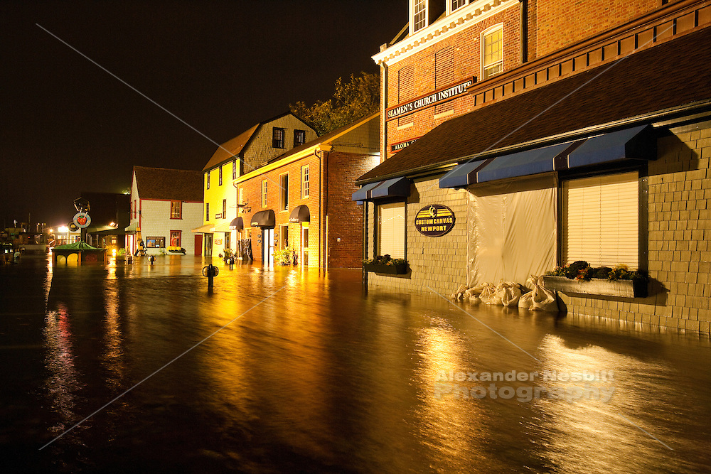 Newport, RI - Bowen's Wharf floods during the high tide storm surge of Hurricane Sandy